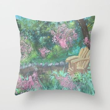 Chair in the Garden Throw Pillow by Lindsay
