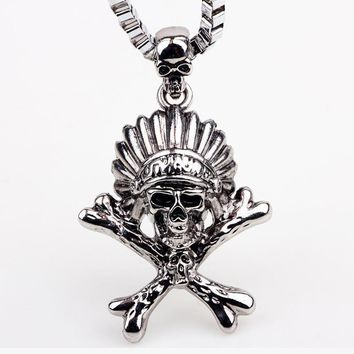 HIGH QUALITY SILVER ANTIQUE INDIAN SKULL HEAD PENDANT/ NECKLACE - SPECIAL OFFER - RETAIL