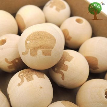 20mm wooden beads elephant shaped burnt engrave diy accessory wooden craft boy wood round ball EA147