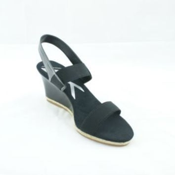 Anne Klein Florence Black Patent Leather Open Toe Wedge Sandals Women's 7.5 M