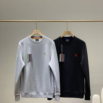 """Polo"" Men Solid Color  All-match Warm Fashion Letter Logo Embroidery Long Sleeve Knit Sweater Tops"