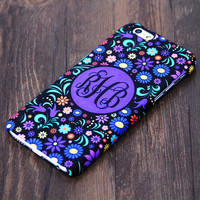 Violet Floral Monogram iPhone 6 6 Plus 5S 5 5C Protective Case #993