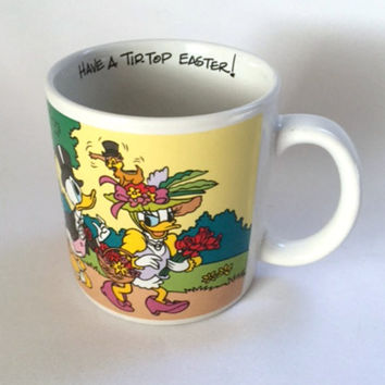 Disney Mug Tip Top Easter Daisy Duck Donald Flowers Spring Coffee Cup Vintage