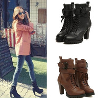Black Lace Up Faux Leather Women Motorcycle Shoes High Heels Ankle Martin Boots = 1697287428