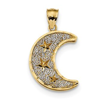 14k Yellow Gold & White Rhodium Crescent Moon with Stars Pendant, 16mm