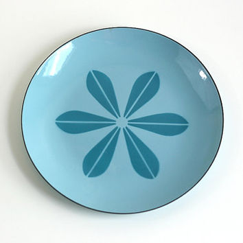 Vintage Cathrineholm Sky Blue and Turquoise Enamel Lotus Platter or Plate