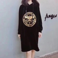 """Boy London"" Personality Eagle Letter Pattern Print Long Sleeve Medium Long Section Velvet Hooded Sweater Dress"