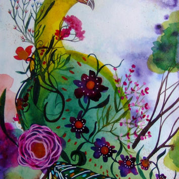 Peacock Watercolor Ink Peacock Flowers Birds Peacock Decor Blue Yellow Pink Bird Wall Art Bird Fine Art Animal Watercolor Flowers Painting