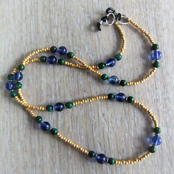 Blueberry Quartz Green Verdite Stone Eyeglass Chain Lanyard Eyeglass Necklace Reading Glasses Sunglasses Librarian Jewelry Yellow Seed Beads