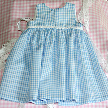 Baby girls summer dress blue gingham fabric & lace 0 -3 months Newborn girl clothes Handmade babies dresses Ready to ship Shower gift idea