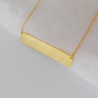 Greek Sorority Necklace,Gold Greek Bar Necklace ,Engraved Sorority Bar Necklace,Personalized Greek Jewelry,Custom Bar Necklace