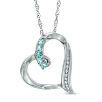 Aquamarine and Diamond Accent Looping Heart Pendant in Sterling Silver