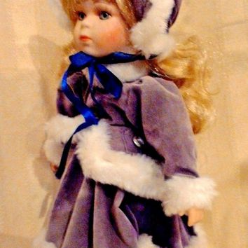 Collectible Porcelain Doll in Violet-Mocha Fur-lined Victorian Winter Dress