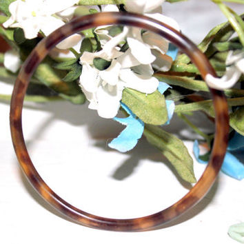 Vintage 1960s Thin Celluloid Tortoise Shell Bracelet Brown