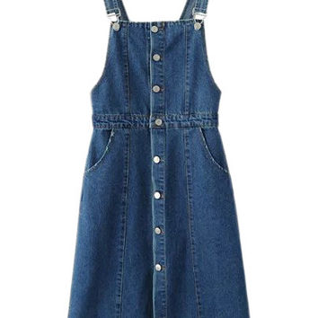 Blue Knee Length Buttons Front Denim Straps Dress