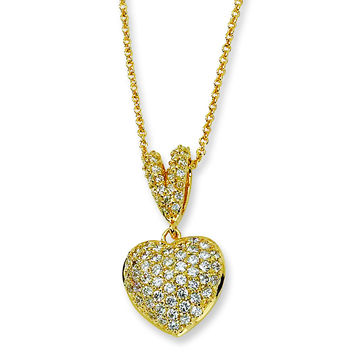 Sterling Silver Gold-plated CZ Heart 17.5in Necklace QCM222