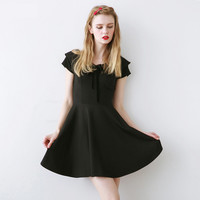 Vintage Black V Neck Lace-up Preppy A Dress