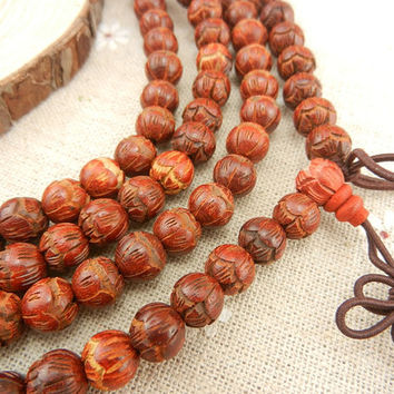 108pc 8mm Red Lotus Flower Ivory Coast Rosewood Prayer Beads Mala Necklace