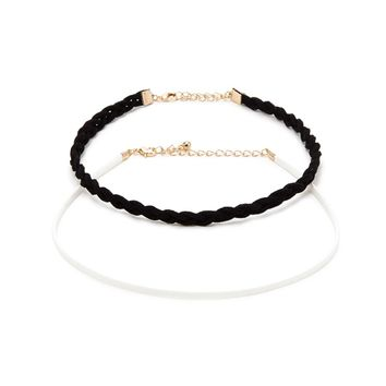 Faux Leather Braided Choker Set