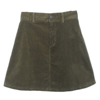 Dark Green Velvet High Waist Mini Skirt