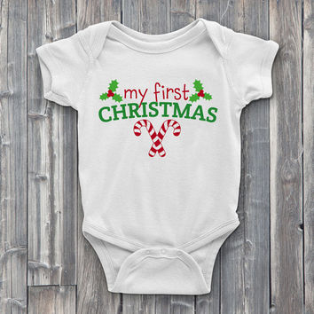 Christmas Onesuits, onsies, My First Christmas, holiday Onesuit, cute Onesuits, baby Onesuits, baby shower gifts, baby