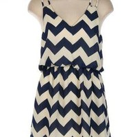Summer Recreation Double Strap Chevron Print Dress in Navy Blue | Sincerely Sweet Boutique
