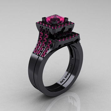 Art Masters French 14K Black Gold 1.0 Carat Princess Pink Sapphire Engagement Ring Wedding Band Set R215PS-14KBGPS