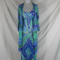 Emilio Pucci 60s 70s Signed Formfit Rogers Slip Dress Vintage Lingerie Robe Set Night Gown W 28
