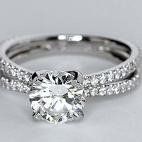 1.40ct G-VS2 18kt White Gold Round Diamond Engagement  Ring GIA certified