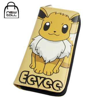 [NEWTALL] Pokemon Eevee Japanese Anime Pocket Monster PU Leather Long Zipper Purse Card Holder Clutch Wallet Free Shipping T1220