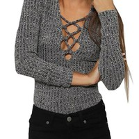 Simplee Apparel Women's Elastic Lace up Cross Slim V Neck Knitted Bodycon Tops
