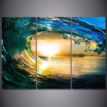 Ocean Wave at Sunset  3 piece canvas panel wall art print Framed UNframed