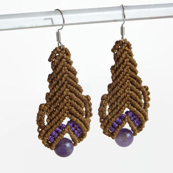 Brown macrame earrings with amethyst bead, fashion jewelry with semiprecious stone, handwoven statement earrings, dangle earrings