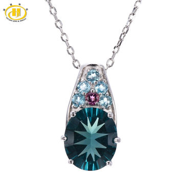 Hutang Natural Blue Fluorite & Tourmaline & Apatite Pendant 925 Sterling Silver Necklace Gemstone Fine Jewelry Hutang Gems