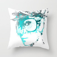 Audrey splash Cool Blue Throw Pillow by D77 The DigArtisT | Society6