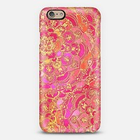 Hot Pink and Gold Baroque Floral Pattern iPhone 6 case by Micklyn Le Feuvre | Casetify