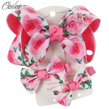 Boutique Flower Ribbon Hair Bow Set For Girls Handmade Hair Accessories Dancing Hairpins Kids Cute Gifts