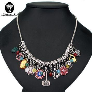 Drop shipping Justice League Thor Necklace The Avengers Diy Captain America Choker Necklace statement Necklace for women Jewelry