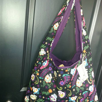 Handmade Hobo Bag Fun and bright Dia de los Muertos