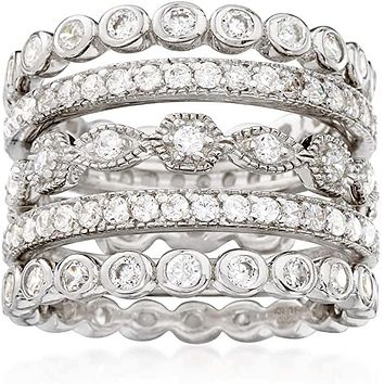 2.9TCW Russian Lab Diamond Wedding Band Stacking Rings