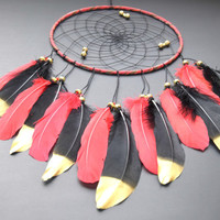 Dream Catcher Red And Black, Wall Hanging Dream Catcher, Gift For Men Women, Red Dreamcatcher, Red Gold Home Wall Decor