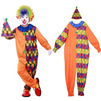 Circus Clown Costume Comedy Grids Adult Suit Funny Halloween Carnival Party Fancy Dress Mens Jumpsuit