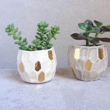 Gold Faceted Ceramic Planter - Succulent Planter - Gold Housewares - Gold Decor