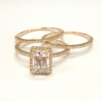 Morganite Wedding Ring Set!Diamond Engagement Ring 14K Rose Gold,5x7mm Emerald Cut Morganite,Claw Prongs,Stackable Matching Band,Bridal ring