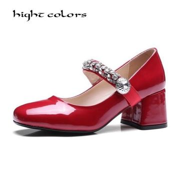 New Women's Lolita Rhinestone High Heels Pumps Sexy Bride Party Round Toe Leather Thick High Heel Shoes for Women black red
