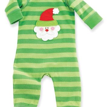 Mud Pie-Santa I Believe One Piece, Green Multi (Size 0-6 Mths)