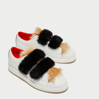 LEATHER SNEAKERS WITH FAUX FUR AND HOOK AND LOOP STRAPS DETAILS
