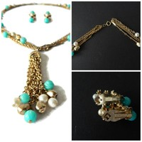 Turquoise and Pearl Bead Tassel Multi Strand Necklace and Dangle Earrings Set Signed Kramer NY