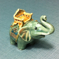 Miniature Ceramic Thai Elephant Animal Funny Cute Little Tiny Small Figurine Grey Statue Decoration Hand Painted Craft Collectible Figure