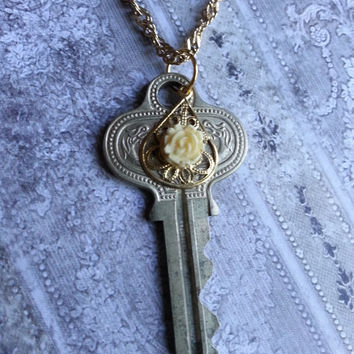 "Key Necklace ""White Rose""  - Vintage Key with Gold Filigree and White Vintage Rose"